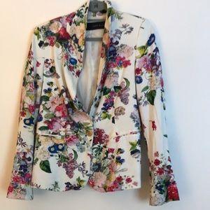 Zara floral large silk blazer